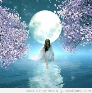 Charming-moon-girl-touching-water